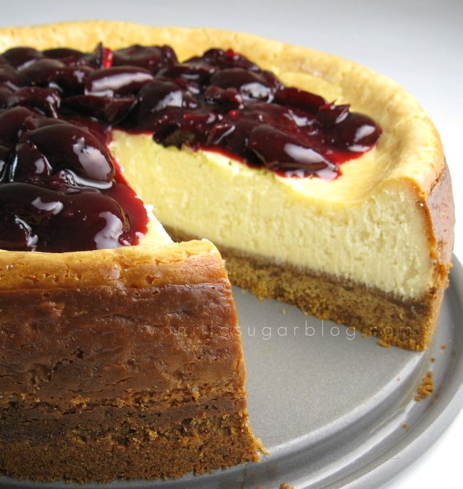 white choco cheesecake w/ cherries & double crust
