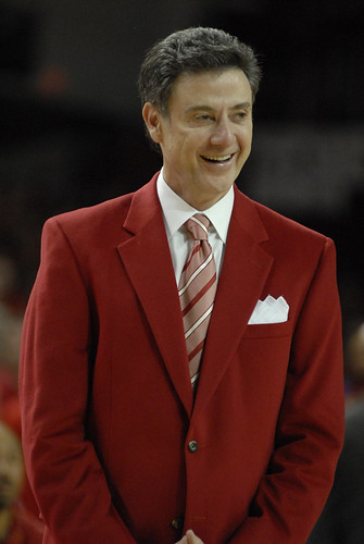 Rick Pitino in his red suit