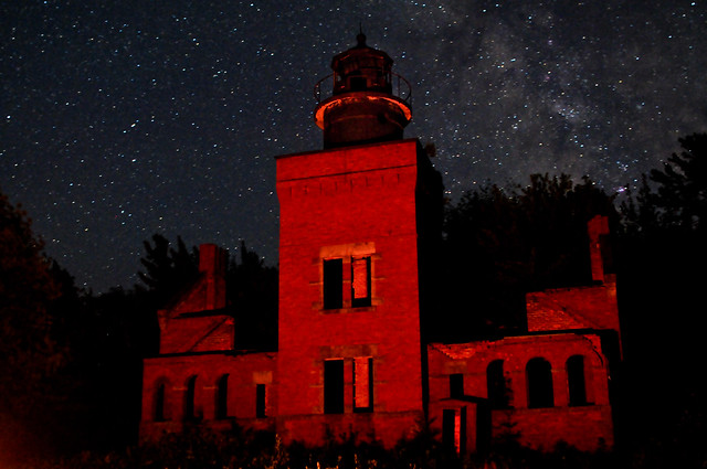 Ruins of 14 Mile Point Lighthouse under the Milky Way [EXPLORED]