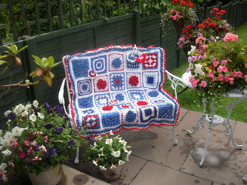 Ta - Dah! Introducing SIBOL No. 23 (Flower Theme 8) 'Full of Love' - named by shiloandspeiky! Thanks to the Ladies who contributed Squares to this blanket! shiloandspeiky, Nettie, GrannySquare49, Mrs Twins (a much needed flower ), Wanda.