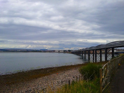 Railway bridge over Montrose Basin in Scotland