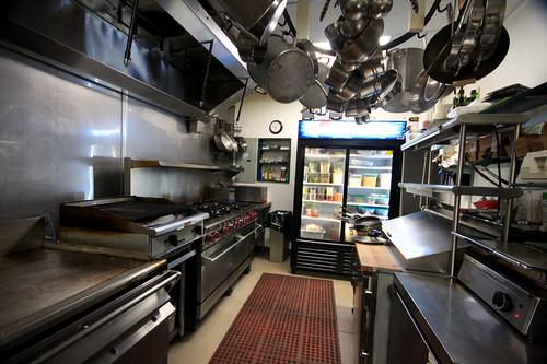 A clean restaurant kitchen
