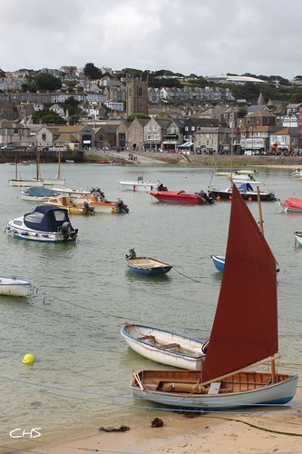 Sailing boat, St.Ives Harbour by Stocker Images