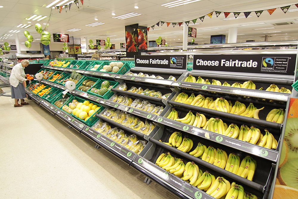 Fairtrade bananas at Matlock Food store