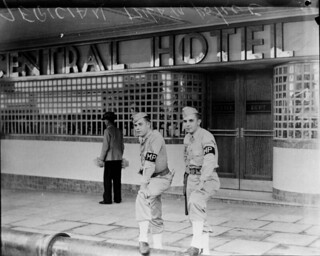 American military police outside the Central Hotel, Brisbane, Queensland, 1942