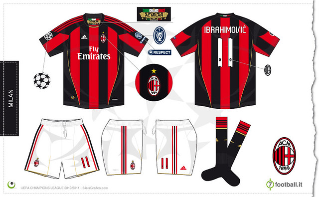 Milan Champions League home kit 2010/2011