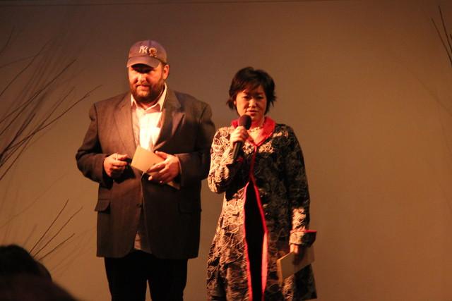 Restaurateur Phillip Gilmour and sake expert Hiromi Iuchi of Kuramoto U.S. at Small Scale. Photo by Rebecca Bullene.