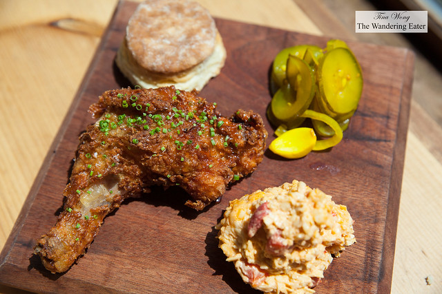 Masa fried chicken glazed with habanero honey, pimento cheese, homemade biscuit, and bread & butter pickles