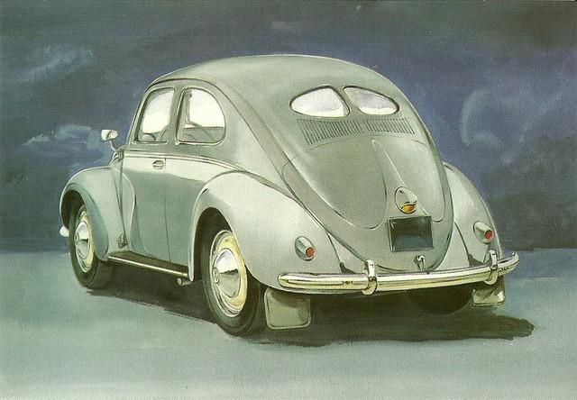 1951 split window vw beetle postcard by golden era for 1951 volkswagen split window