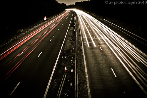 road uk longexposure greatbritain travel light red england sky white motion cars lines car silhouette sign speed lights highway traffic motorway unitedkingdom dusk sony trails silhouettes autobahn headlights line lane freeway slowshutter gb headlight lighttrails a1 alpha a200 hertfordshire lanes lightstreams herts welwyn a1m lighttrail lightstream homecounties sonydt1870mmf3556 sonya200 ayotsaintpeter