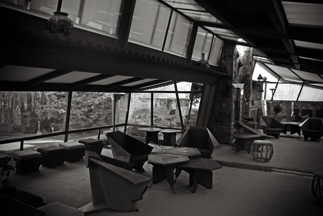 Taliesin West Living Room in Black and White