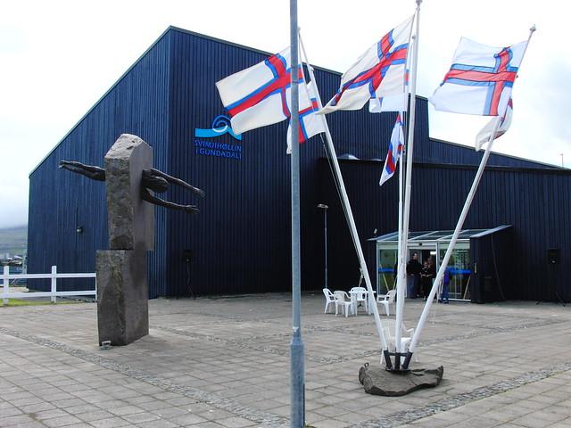 Faroese flags outside the Tórshavn swim pool