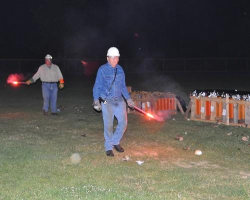 Fireworks operators dressed for fireworks safety