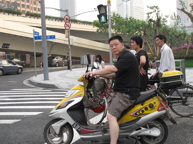 Stare-down by the shanghai biker, what was he thinking?