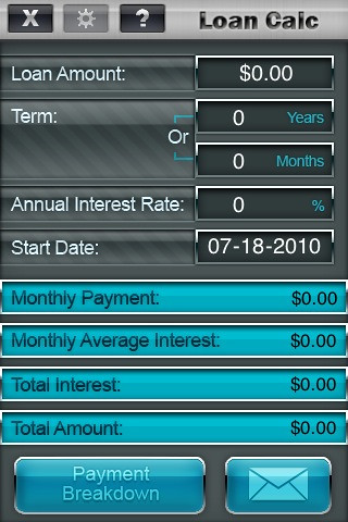 iPhone/iPod touch Screenshot: APPZILLA Application, Loan Calculator App