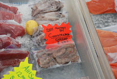 Seafood on sale at the Monterey Farmers' Market