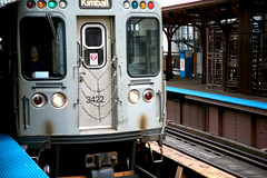 """Chicago (ILL) Chicago Transit Authority, CTA, Quincy station, """" Brown line to Kimball """""""