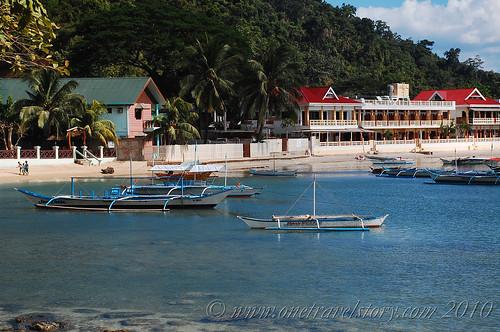 View of Lally & Abet and El Nido Beach Hotel from road to Caalan, El Nido, Palawan