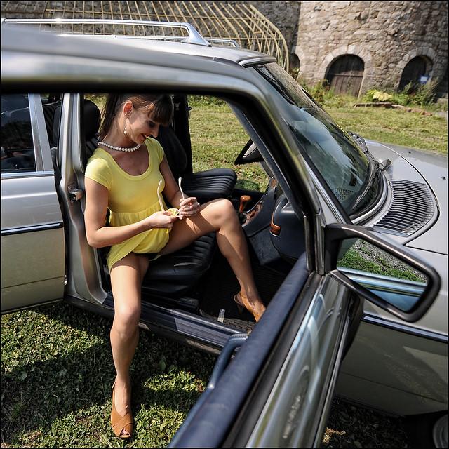 Upskirt - Car - Sexy Legs