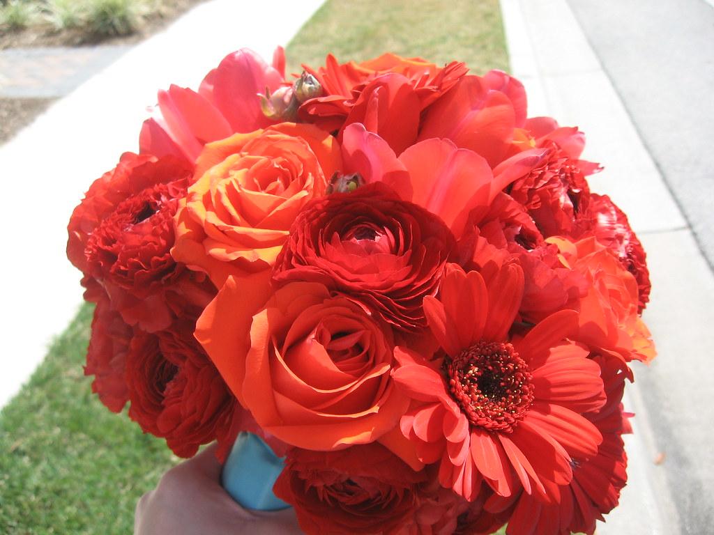 Red Gerbera Wedding Bouquets : Red roses gerbera daisies and ranunculus bridal
