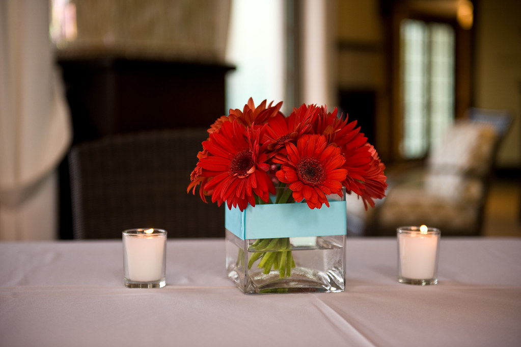 Red Gerbera Centerpieces With Teal Ribbon A Photo On Flickriver