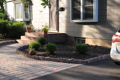 Pavers placed on exterior walking path