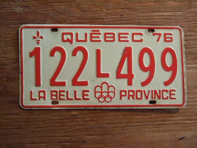 QUEBEC 1976 ---PASSENGER PLATE, 76 SUMMER OLYMPICS 122L499