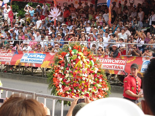When one of Los Silleteros turned in a circle, I was lucky enough to get this photo of the flower display.