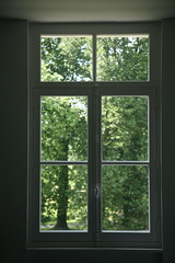 France, Aisne (02) Guise : Familistère : appartement, fenêtre, vue extérieure.