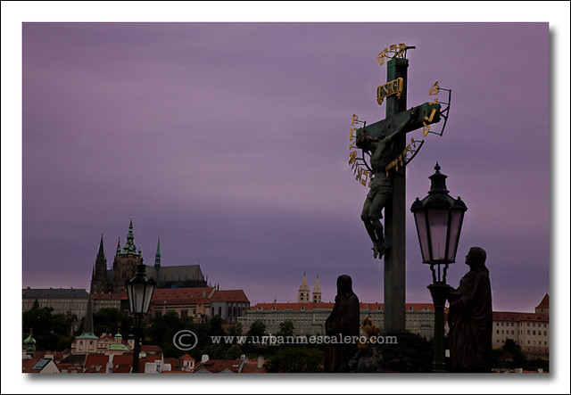 Prague [Czech Republic] - Statue of the Crucifixion on Charles Bridge