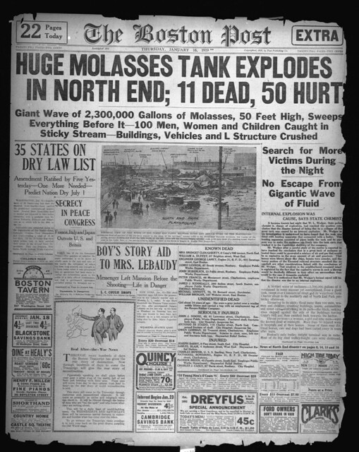 Huge molasses tank explodes in North End; 11 dead, 50 hurt [Boston Post, January 16, 1919]