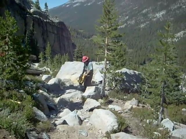 2374 Noisy video of a rock drill on the JMT-PCT in Lyell Canyon