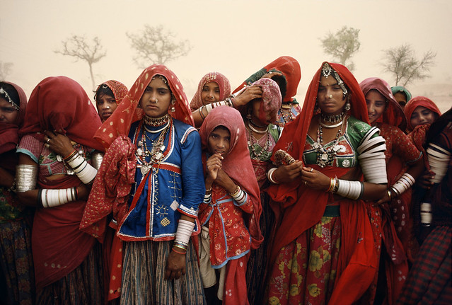 Cluster of Women During Dust Storm, Rajasthan, India, 1983, by Steve McCurry