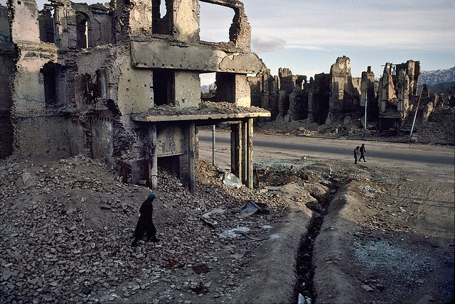 Destroyed buildings, Kabul, Afghanistan, 2002, by Steve McCurry 2002