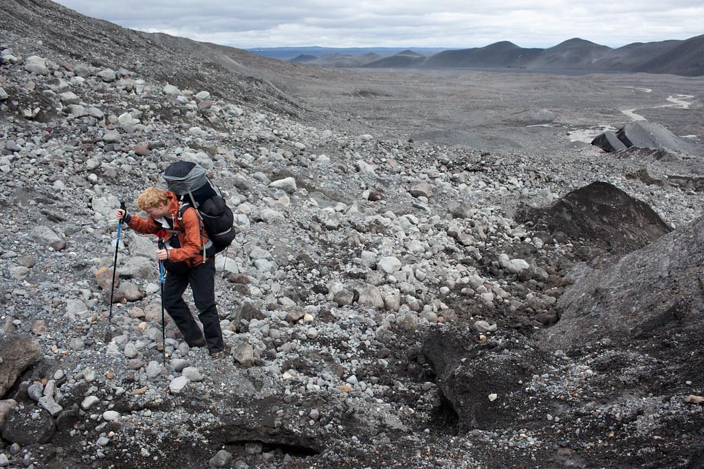 Climbing the morraine onto the Hofsjökull glacier, Iceland