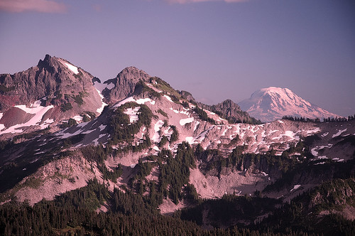 sunset mountain landscape washington paradise view mountrainier mountadams