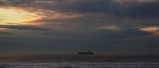 cargo ship at ocean beach, san francisco