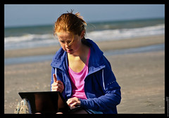 Online home school, Learning and socializing on the beach