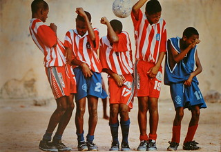 Young soccer players in Salvador, Brazil, 2001