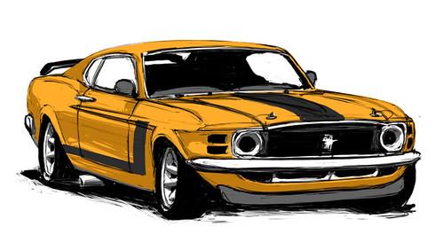 Vintage Mustang Sketch