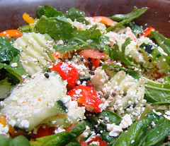 meal(0.0), produce(0.0), spinach salad(1.0), salad(1.0), vegetable(1.0), leaf vegetable(1.0), food(1.0), dish(1.0), cuisine(1.0), feta(1.0), caesar salad(1.0),