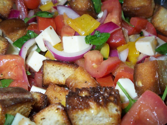 bhg tomato bread salad closeup
