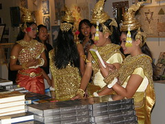 Cambodian dancers check out the book sale!