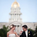 Bride and groom at Civic Center Park by Charlotte Geary Photography