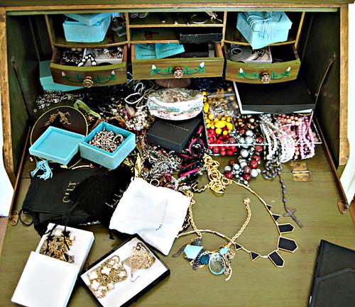 costume jewelry organization - before