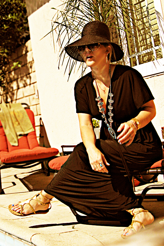 Black Caftan with Jewelry, Sunglasses and Sun Hat