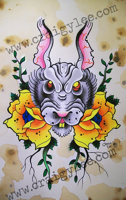 rabbit tattoo design wwwcraigyleecom copyright craigy lee