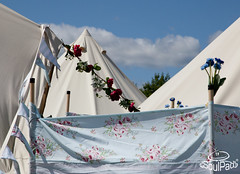 Some people go all out to decorate their tents - even on the outside!