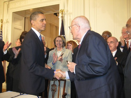 President Obama Shakes Hands with Congressman Dingell