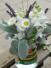 The Bride's Posy in a Pickle Jar